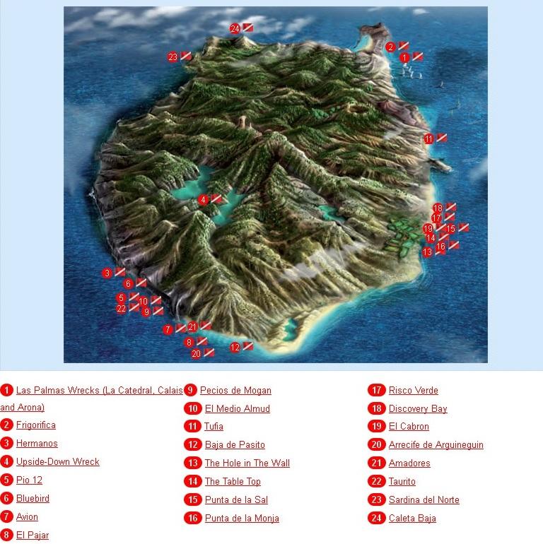Дайвинг карта Гран Канарии