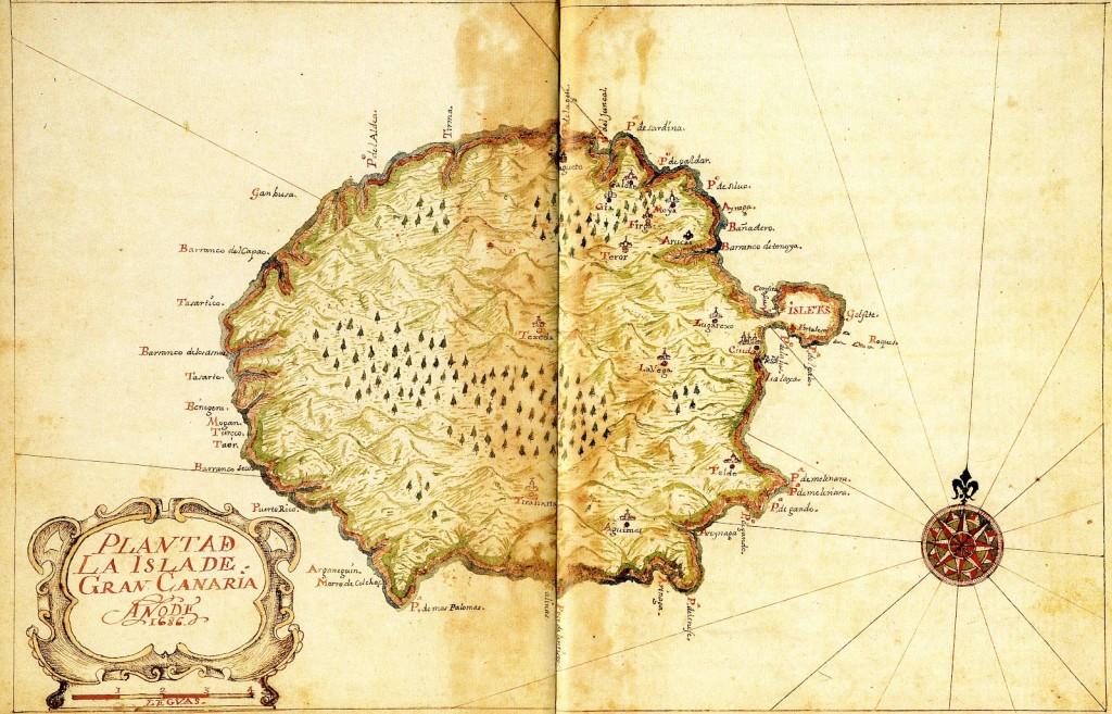 Старая карта острова Гран Канария, 1686 год